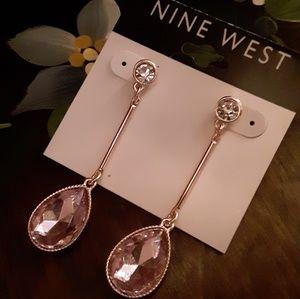 NWT Nine West Silver Bar Lavender Gem Drop Earring